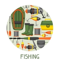 Background with fishing supplies Design for vector image