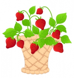 basket of strawberries vector image