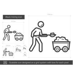 Black mining line icon vector