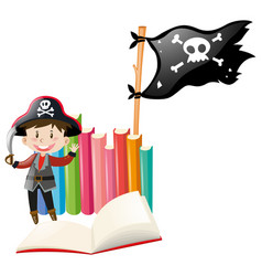 Boy dressed up in pirate costume vector