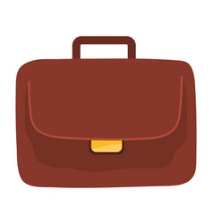 briefcase portfolio isolated icon brown office vector image