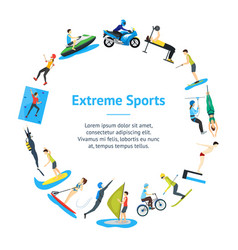 Cartoon extreme sports people banner card circle vector