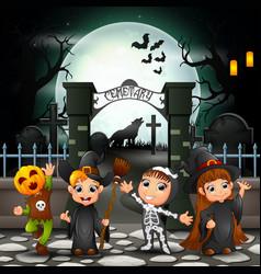cartoon happy kids with halloween costume vector image