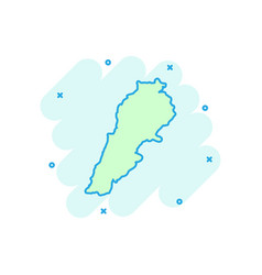 cartoon lebanon map icon in comic style lebanon vector image