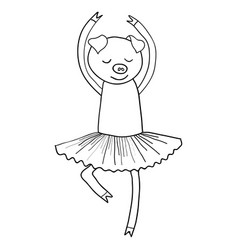 Cartoon pig ballet dancer coloring vector