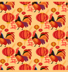 Chinese new year rooster pattern vector