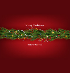 christmas wreath made naturalistic looking vector image