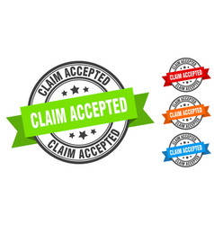Claim accepted stamp round band sign set label vector