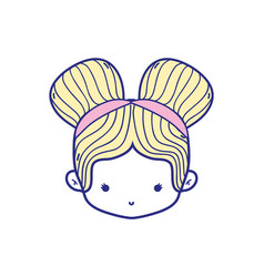 Colorful girl head with two buns hair design vector