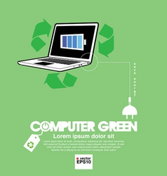 Computer with green concept vector image