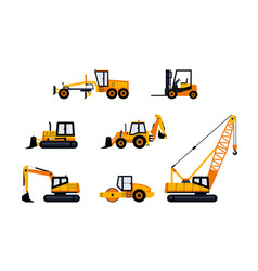 Construction vehicles - modern icon set vector
