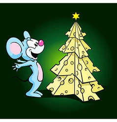 cute happy mouse with cheese xmas tree vector image