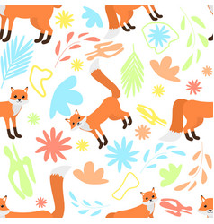 cute seamless pattern foxes on abstract floral vector image