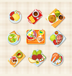 Dishes with food top view set tasty asian vector