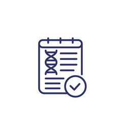 Dna test result line icon on white vector