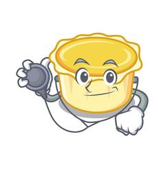 Doctor egg tart character cartoon vector