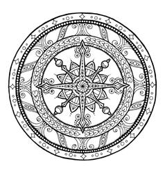 Doodle snowflake on ethnic christmas mandala vector image