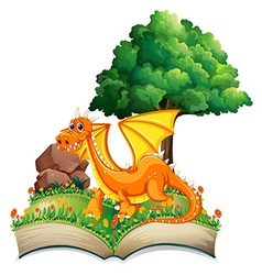 Dragon and book vector