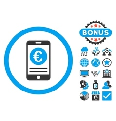 Euro Mobile Banking Flat Icon with Bonus vector image