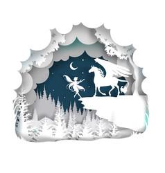 Fairytale pegasus in paper vector