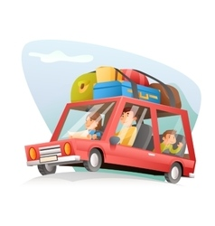 Family car travel cartoon design vector