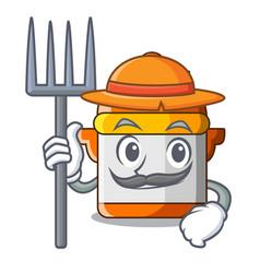 Farmer character cartoon modern cooker for cooking vector