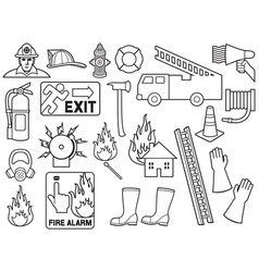 firefighters thin line icons collection vector image