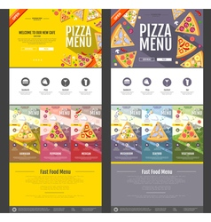 Flat style pizza menu concept web site design vector