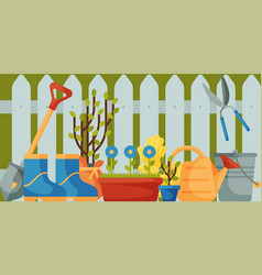 garden fence with tools banner vector image