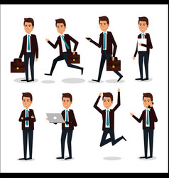 Group of businessman teamwork with portfolio vector
