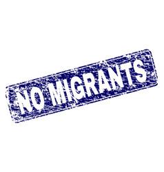 Grunge no migrants framed rounded rectangle stamp vector