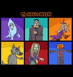 halloween holiday funny cartoon characters set vector image