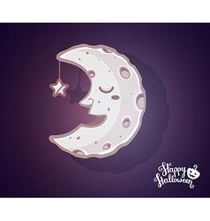 Halloween of half light moon with craters s vector