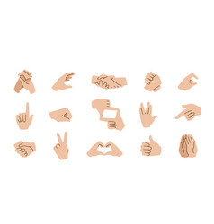 hand gestures emoticons communication icons with vector image
