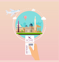 hand holding boarding pass at airport to rome vector image vector image