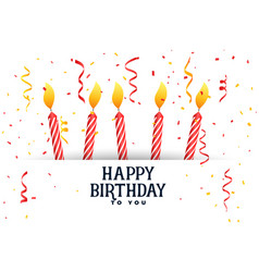 Happy birthday celebration card with candles vector