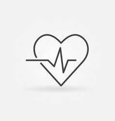 Heartbeat icon - heart rate linear symbol vector