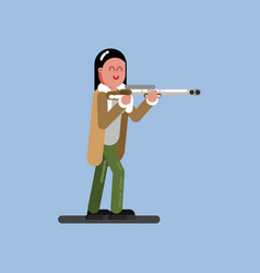 hunter girl ready to shoot vector image