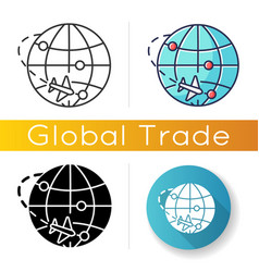 International trade icon export and import vector