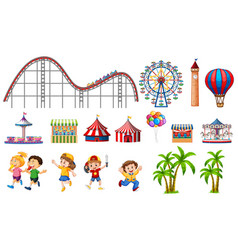 isolated objects from circus theme with kids and vector image