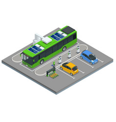 Isometric an electric bus a bus that is powered vector