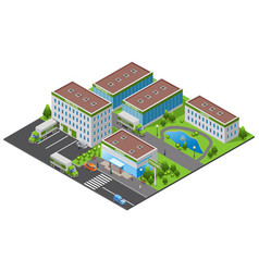 Isometric pharmaceutical plant concept vector