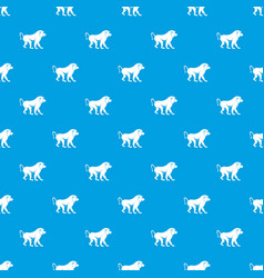 Japanese macaque pattern seamless blue vector