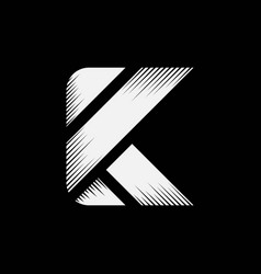letter k initial icon with wood style logo design vector image