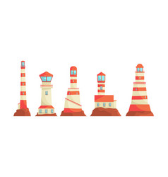 lighthouse structures set nautical vector image