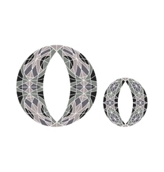 Low poly letter o in gray mosaic polygon vector