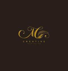 M letter luxury flourishes ornament logo vector
