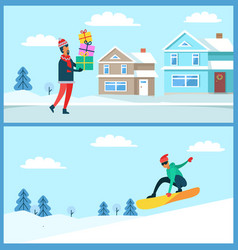 Man with gifts and snowboarder vector