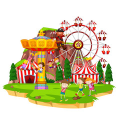 many children playing rides at funpark vector image