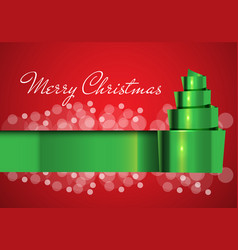 merry christmas card green ribbon on red design vector image